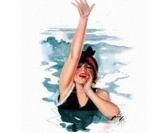 Swimming Girl Fabric Block | Neptunes Daughter | Repro Harrison Fisher