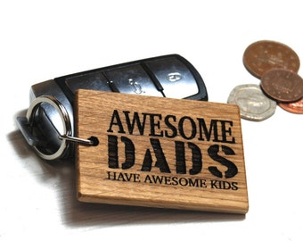 Awesome Dads Keyring - Birthday Gift - Card For Dad - Gift For Dad - Personalised Keyring - Dad and Daughter - Dad and Son - Dad