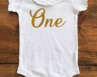 Birthday Girl 1st One Gold Onesie Top Tee Two Three Four Five