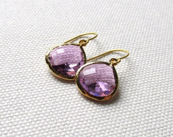 Violet Earrings Gold and Light Purple Lavender Dangle Earrings Glass Wedding Jewelry Gift For Her