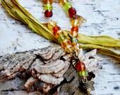 Autumn Leaf Necklace, Oak Leaf Necklace,  Woodland Leaves, Leaves and Bird Necklace