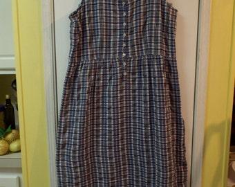 Maxi Jumper Dress Blue Plaid and Checks Cotton Size Large