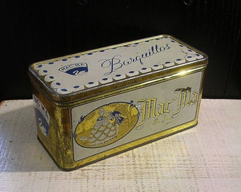 Mac'Ma Blue and White Tin Box, Vintage Tin Box, Mexican Wafers, Cookie Tin, 18th Century Courtship, Vintage Kitchen, Decorative Tin Box