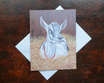 A Goat: Folded Blank Note Card, Stationary
