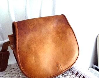 leather sadle bag-hand made bag- French vintage- used leather bag - brown country bag