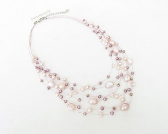 Multistrands pink peach freshwater pearl necklace with crystal on silk thread, pale light purple