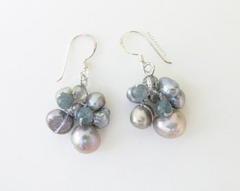 Silver gray freshwater pearl earrings with crystal, stone on silk thread, sterling silver ear wires