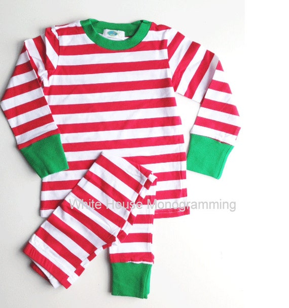 Kids Christmas Pajamas Our monogrammed Christmas pajamas striped in red and/or green are great for your whole family! Personalized Christmas Pajamas are % cotton and are snug fitting. Best to order true to size! We will monogram your Christmas pjs with either a 3 letter.