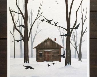"""8x10 fine art print, """"The Witch's House"""" Halloween art, creepy forest, haunted house, winter snow, occult witchy art, goth decor"""