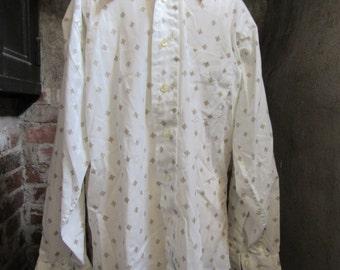 60s Nicola Mancini White Long Sleeve Mod Shirt, M // Vintage Hippie Dress Shirt