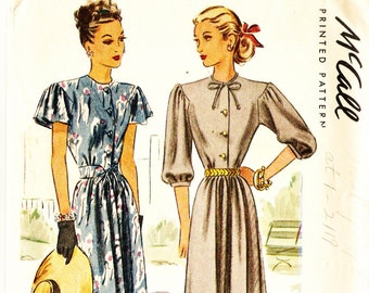 McCall 6649 Vintage 1940s Dress with Cape or Three Quarter Sleeves Sewing Pattern Sz 18