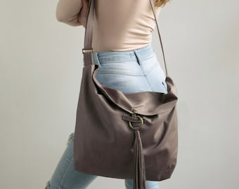 Gray Leather Hobo Bag, Women Leather Handbag, Hobo Crossbody Bag, Soft Leather Bag, Adjustable Strap, Leather Tassel Closure, Sac Bag