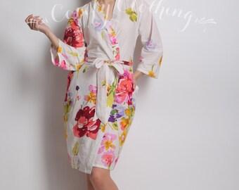 Floral kimono crossover robe, CUSTOM, Bridesmaids robe, spa robe, beach cover up, dressing up robe, bride, bridal party
