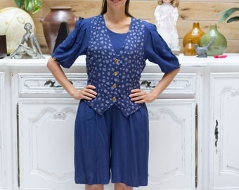 Vintage Blue Jumpsuit/Romper with Pockets and Sewn-in Vest