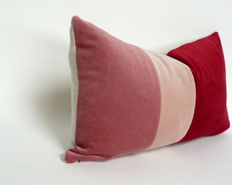 pink colorblock velvet pillow case // color block pillow cover // red pink velvet pillow case