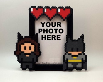 Catwoman and Batman Picture Frame - Couples Picture Frame - Nerdy Couples - Nerdy Wedding Gift - Comic Book Wedding - Comic Book Couple
