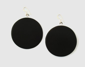 Large Leather Circle Earrings, Leather Disc Earrings, Black Leather Statement Earrings, Big Earrings, Leather Jewellery, Gift for Her