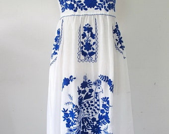 Embroidered Mexican Sundress Cotton Strapless With Lining In White