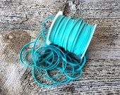 """Deerskin Lace, 1/8"""" Turquoise Deerskin Leather Lace BY THE YARD, 3 Feet x 3mm, Cord, Bead, Teal, Deer Skin, Leather Craft Supplies"""
