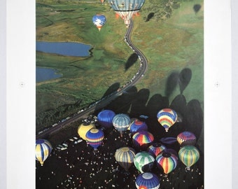 """Vintage 1985 Graphic Arts Show Poster  Aerial View of Colorful Hot Air Balloons 19"""" x 25"""""""