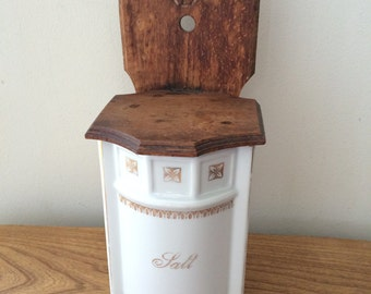 Vintage Germany Ceramic and Wood Salt Box with Gold Accents