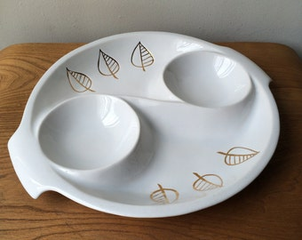 Vintage White Miramar of California Serving Dish with Golden Leaves