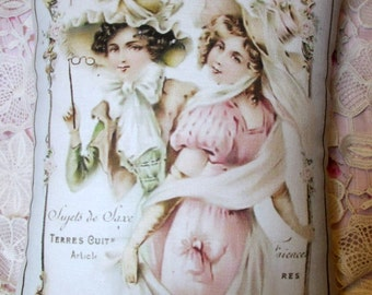 French Ladies Pink Roses PILLOW, Victorian, PRETTY, Shabby Pillow