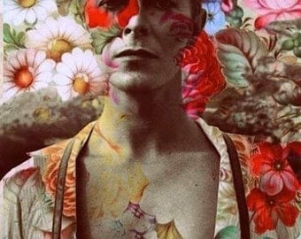 David Bowie with Flowers Fan Art Collage Fabric Block - Great for Quilting, Pillows & Wall Art - Buy 2, Get 1 FREE
