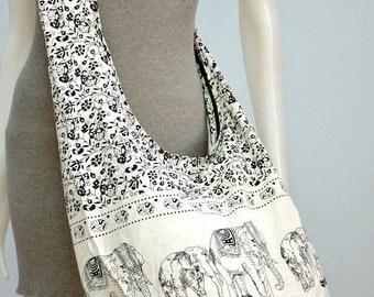 Elephant Bag Hippie Hobo Bag Sling Crossbody Bag Boho Bag Shoulder Bag Messenger Bag Cotton Bag Purse Tote Bag Handbags, White