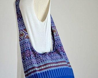 Blue Bohemian Bag Ethnic Bag Hobo Bag Cotton Shoulder Bag Crossbody Bag Boho Bag Sling Bag Hippie Bag Messenger Bag Hmong Zipper Purse