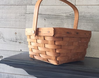 Large Longaberger Berry Basket WITH Liner - Vintage Decorative Hand Made Hand Woven Basket - Longaberger Basket - Country Farmhouse