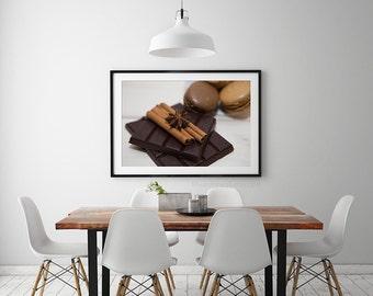Kitchen art, Paris photography, macaron, cinnamon stick, rustic kitchen wall decor, food photography, wall art, kitchen print, kitchen decor