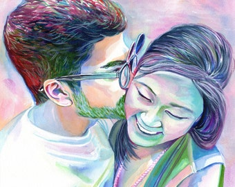 CUSTOM COUPLE PORTRAIT, Romantic gift, special gift, for girlfriend, for boyfriend, for him, for her, custom gift, boyfriend gift