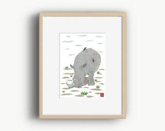 Rhino, Rhinoceros, Rhino Art, Safari Animal Print, Rhino Home Decor, Rhino Gift