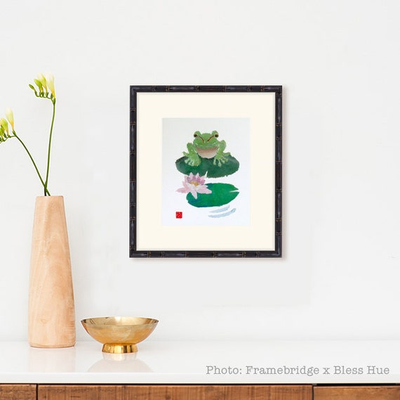 Frog Art, Modern Frog Print, Meditation Room Decor, Zen Decor, Zen Wall Art, Lotus
