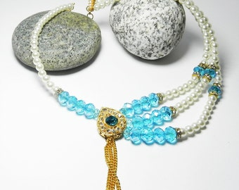 Blue Necklace Faux Pearl Necklace Beadwork Beaded Necklace – Golden Necklace 3 -tier Necklace Unique Necklace – Dangle Necklace Gift for Her
