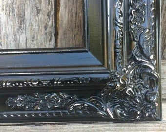 Black 11x14 Picture Frame, Baroque, Wedding Frame,Wide Chunky Frame,Ornate Wedding Frame, Nursery, Photo Prop #SC(Los Angeles)