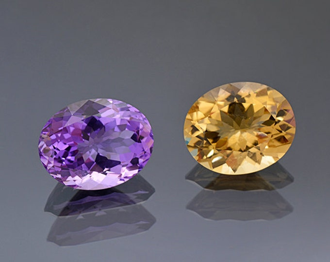 UPRISING SALE! Beautiful Amethyst and Citrine Gemstone pair from Bolivia 16.98 tcw