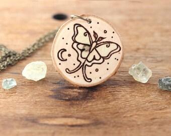 Luna Moth Necklace, Wood Slice Necklace, Wood Pendant, Woodburned Necklace, Natural Wood Necklace, Wood Necklace, Luna Moth Jewelry