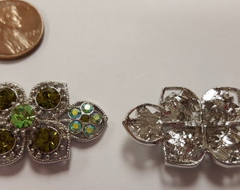 1 Olivine Green AB Rhinestone Floral 38mm. Silver Ornate Filigree Finding R827