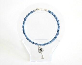 Key Suede Twist Charm Bracelet