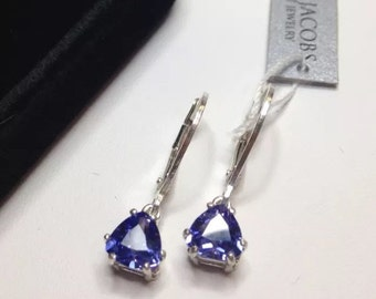 Beautiful 3ctw Trillion Cut Tanzanite & Sterling Silver Earrings Trillion Cut Tanzanite Leverback Fine Jewelry Trends Tanzanite Earrings