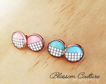 Rose Gold Pink or Mint Grid Earrings
