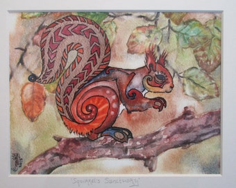 Red Squirrel Original Fine Art Giclee Print- 'Squirrel's Sanctuary'. Mounted watercolour, gold ink and marker print.