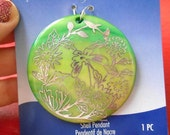 RESERVED for DEE Green Shell Pendant Silver Flower Floral