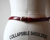 1980s red snakeskin belt // red belt // vintage belt