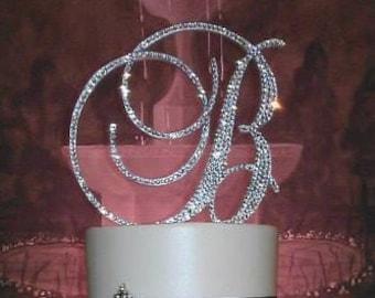 Gorgeous Swarovski Crystal Wedding Cake Toppers 4 In Any Letter Monogram Custom Topper