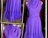 Vintage Purple Chiffon Cocktail Party Dress Miss Elliette FREE SHIPPING