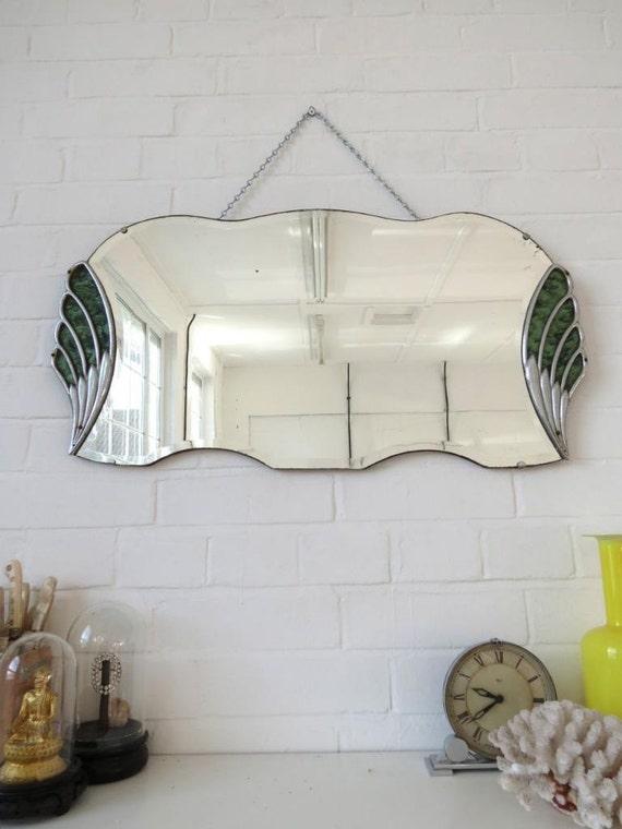 Vintage art deco biselado borde pared espejo ventilador for Espejo con borde biselado