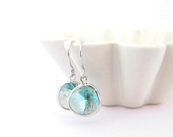Light Blue Stone Earrings/ Silver Dangle Earrings/ Glass Earrings/ Blue Earrings/ Glass Stone Earrings - Sea Of Love